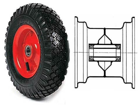 GROOWED TYRED WHEELS WITH BEARINGS