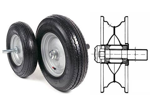 TYRED WHEELS WITH BEARINGS, DRIVE SHAFT AND CAP