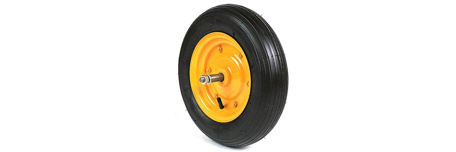 TYRED WHEELS WITH BEARINGS AND THREADED AXLE