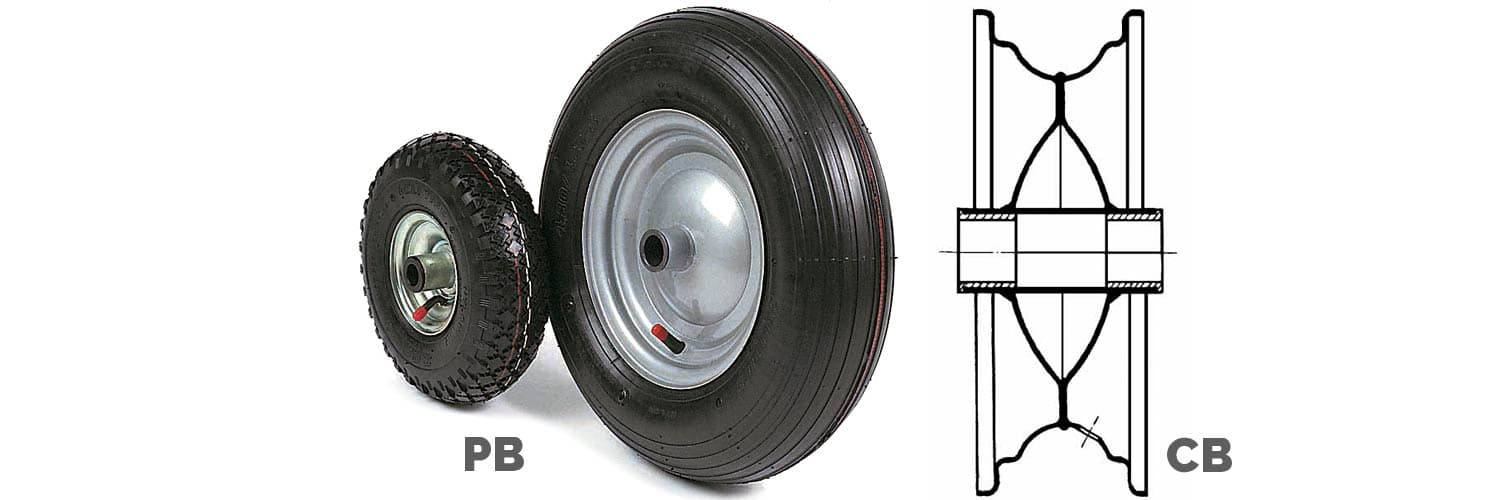 TYRED WHEELS WITH NYLON BUSHES AND HUB