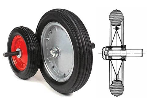 SOLID RUBBER WHEELS WITH HUBS, COMPLETE WITH BEARINGS, DRIVE SHAFT, CAP