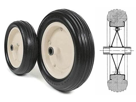 SOLID RUBBER WHEELS WITH NYLON BUSHES AND HUBS
