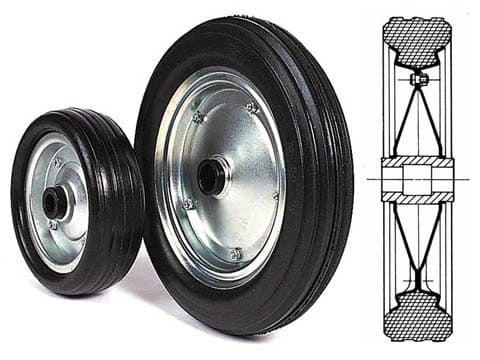 DEMOUNTABLE SOLID RUBBER WHEELS WITH NYLON HUBS