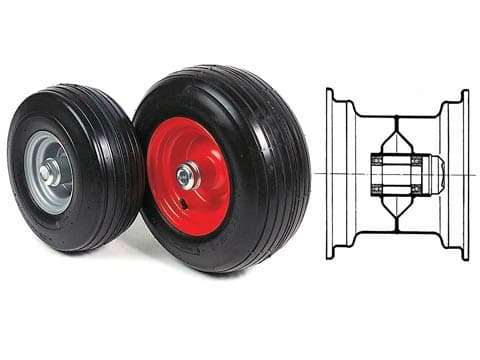 RIBBED TYRED WHEELS WITH BEARINGS AND CAP