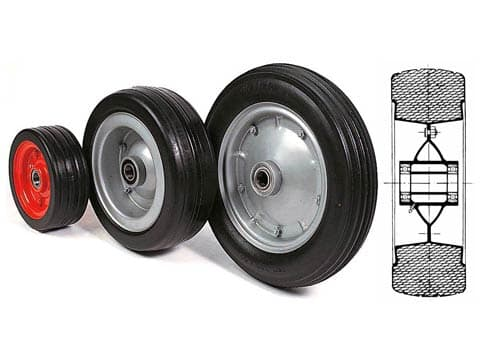 SOLID RUBBER WHEELS WITH HUBS ON SCREENED BALL BEARINGS