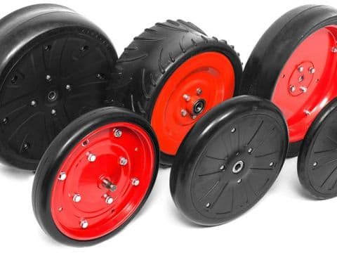 WHEELS IN FLEX-SYSTEM WITH HUBS ON SCREENED BALL BEARINGS 2RS